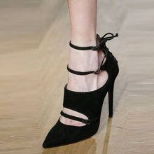 New Stylish Pointed Toe High Heel Shoes Woman Black Fretwork Suede Upper  With Three Narrow Band 5457680d7e46