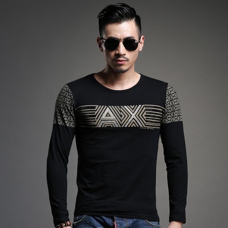 0c83339477a 2015 Brand Black 100% Cotton Mens t shirt Spring Autumn Long Sleeve Printed  Casual Slim Rock Hip Hop t-shirt Men Plus Size M-3XL