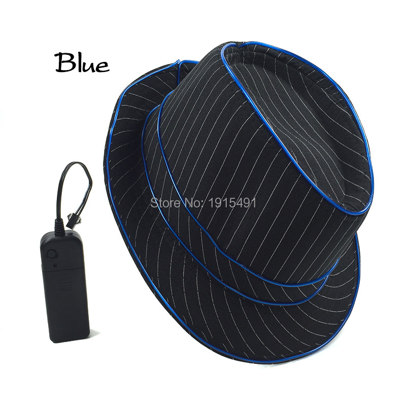 10 Colors Available Colorful Noble Hipster Favors Led Bulb Stripe Black Cap Neon El Wire Cosplay Hat For Party Festival Lighting Skillful Manufacture