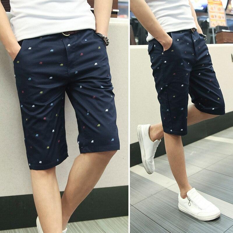 New brand mens shorts print casual Mens shorts fashion cotton shorts homme shorts khaki white green