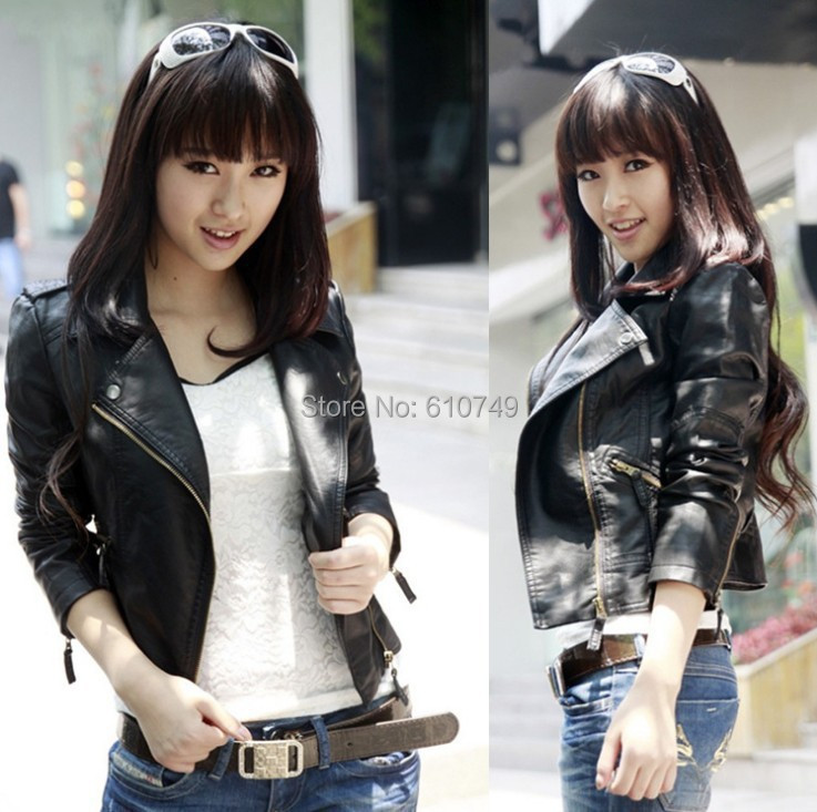 New Fashion Genuine   Leather   Jacket Women Jacket Coat Slim Biker Motorcycle Soft Zipper girl   Leather   Jaquetas De Couro feminina