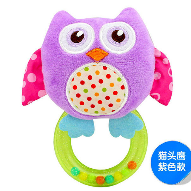 0-3 Y Baby Rattle hand Bell Toy 5 Style Owl Bird Chicken Animals Plush