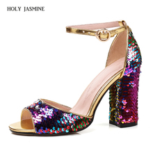 2018 New Summer Fashion High Platform Bling Sandals Women Crystal Casual Ladies Shoes 9cm High Heels Plus Size 43 Ankle Strap цены онлайн