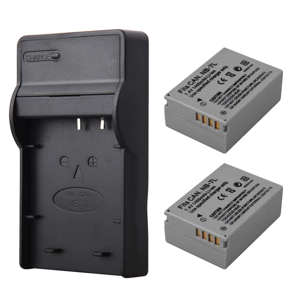 2pcs 1400mah NB-7L NB7L NB 7L Camera Battery + USB Charger For Canon PowerShot G10 G11 G12 SX30IS Battery NB-7L NB7L NB 7L купить недорого в Москве