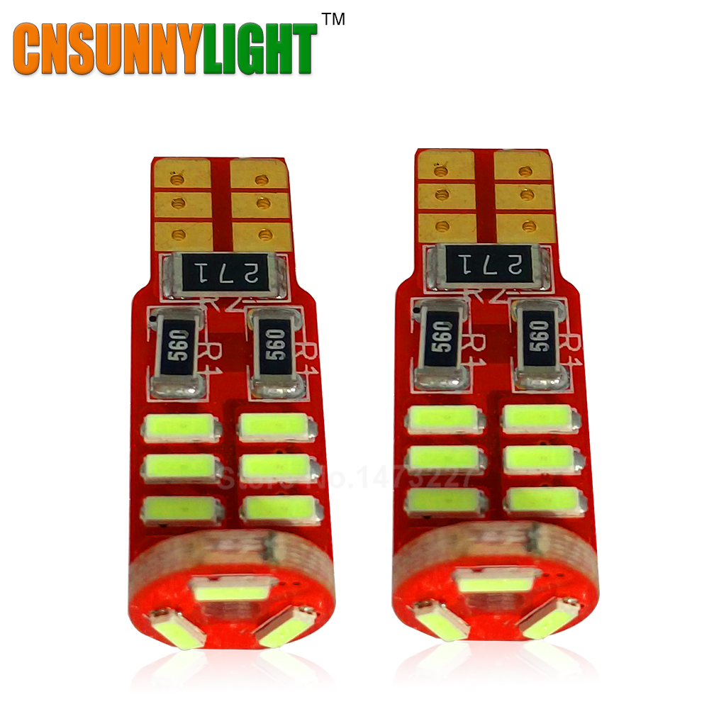CNSUNNYLIGHT New Canbus Error Free T10 W5W 4014 15SMD SMD LED High Power Car Auto Wedge Lights Parking Bulb Lamp DC 12V 10pcs super bright led lamp t10 w5w 194 6smd 4014 error free canbus interior bulb white for car dc 12v free shipping new