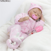 NPKDOLL 55 cm Reborn Baby Doll Soft Silicone Baby Bed Girls Toys Doll Fashion Limited Collection In stock Items Girl Gifts