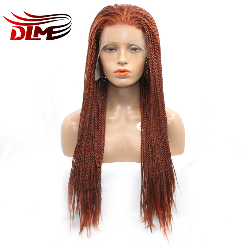 DLME Lange Gevlochten Doos Vlechten Pruiken Oranje Kleur Haarkant Synthetisch Haar Voor Zwarte Vrouwen met Natuurlijke Haarlijn