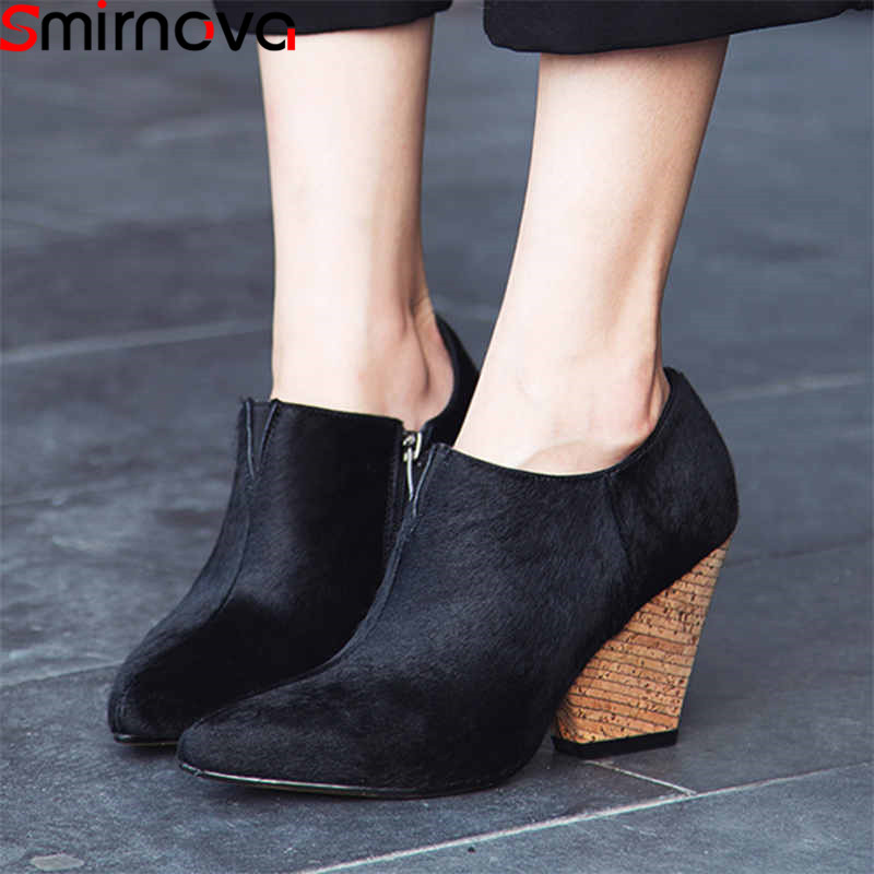 Smirnova Shoes Elegant Spring Pointed-Toe High-Heels Big-Size Fashion Woman Zip Horsehair