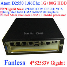 mini tower pc fanless with Intel Atom dual-core D2550 1.86GHz 4*82583V Gigabit LAN Wake on LAN 12V 1G RAM 80G HDD Windows Linux