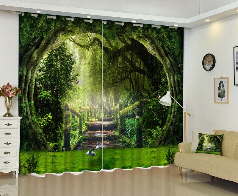 Paisaje de bosque antiguo 3D cortina de ventana para sala de estar curtianos cortina de sol personalizar tamaño-in Cortinas from Hogar y Mascotas    1