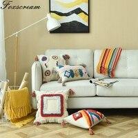 Bohemian pillow Decorative Cushion Cover Home Decor Throw Pillows GeometricPillowcase Handmade Wool Plush with Tassels For Sofa