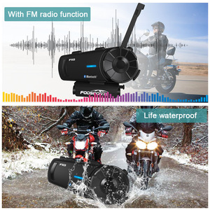 Image 5 - 3pcs Fodsports FX8 intercom moto casque oreillette bluetooth sans fil FM Radio 8 coureurs discussion de groupe 1000m interfono moto casco bluetooth