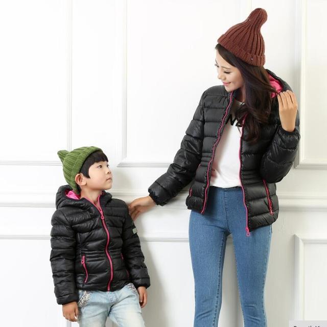 Семейные модная одежда Короткий стиль зимнее пальто для мальчика детей clothing девушки пуховики черный Розовый молния