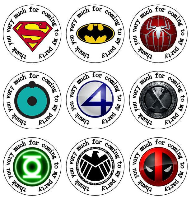 35 round superhero logo spiderman superman batman hulkk avenger 35 mm party stickers thank you seal