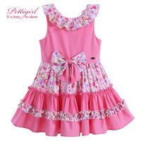 Pettigirl New Summer Pink Cotton Girl Dress With Bowknot Adorable Boutique Floral Baby Girl Clothes G-DMGD905-773