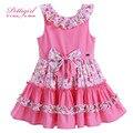 Pettigirl nuevo verano de algodón de color rosa vestido de la muchacha con bowknot adorable floral boutique baby girl clothes g-dmgd905-773
