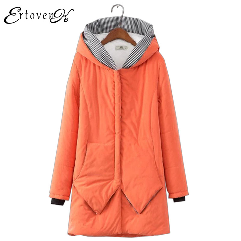 Plus size Cotton Coats 2017 New Women Loose Clothing Winter Thick Jacket Long sleeve Top Hooded Outerwear abrigos mujer LH010 2017 new winter warm hooded long women s coats thick cotton jacket women embroidery letter vintage overcoat parkas abrigos mujer