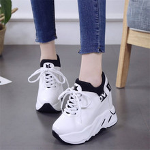 Wedge Sneakers Woman Platform Leather 2019 Autumn Female Casual Shoes Women High Heel 11cm Comfortable Quality