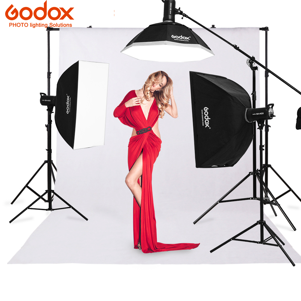 Godox 3x SK400 400Ws  Photo Studio Flash Strobe Light 110v/220v with 50W Modeling Lamp Softbox,Light Stand kit
