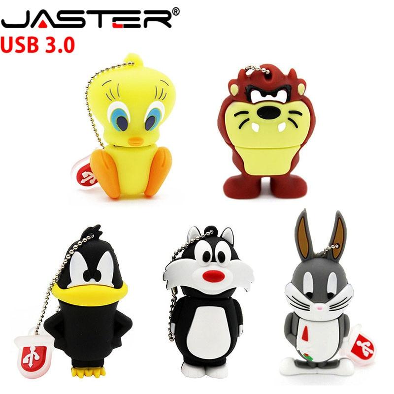 JASTER USB 3.0 Looney Tunes Usb Flash Drive 32GB Pendrive 16GB 64GB 4GB Bugs Bunny Daffy Duck Cartoon Hot Sale Animal Pen Drive