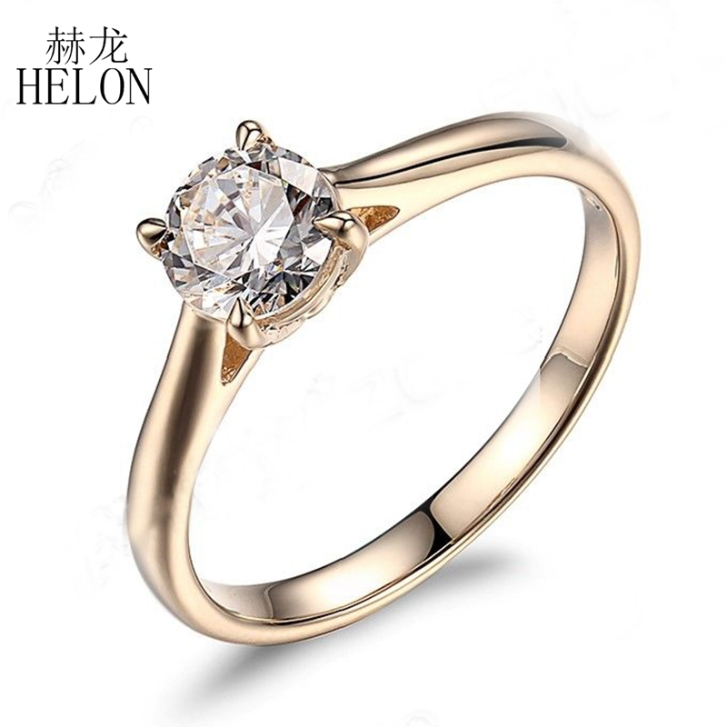 HELON 6.5mm Round Moissanite Ring Solid 10KT Yellow Gold Engagement Ring 1CT Test Positive Moissanites Diamond Wedding Jewelry genuine 18k 750 rose gold 1ct hearts arrows test positive lab grown moissanite diamond engagement pendant necklace chain women