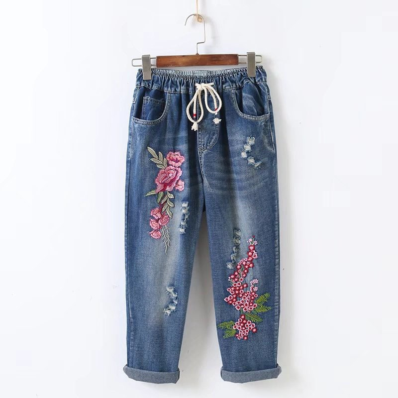 2019 Summer Women Denim Pants Ripped Elastic Waist Casual Jeans Loose Embroidered Flowers Hole Trousers Female