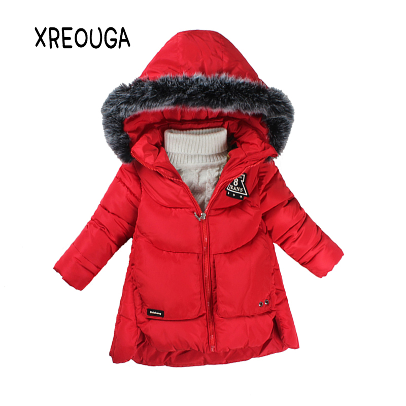 Winter Warm Kids Girls Thick Cotton Coat Windproof Fur Hoodie Boys Letter Print Long Parkas 4-10T Kids Outerwear Clothes TJ01 2017 winter women jacket new fashion thick warm medium long down cotton coat long sleeve slim big yards female parkas ladies269