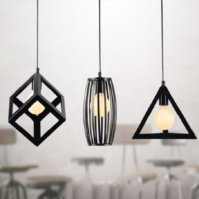 metal lighting. Vintage Retro Pendant Lights LED Lamp Metal Cube Cage Shade Lighting Hanging Light Fixture Bulb-in From \u0026 On A