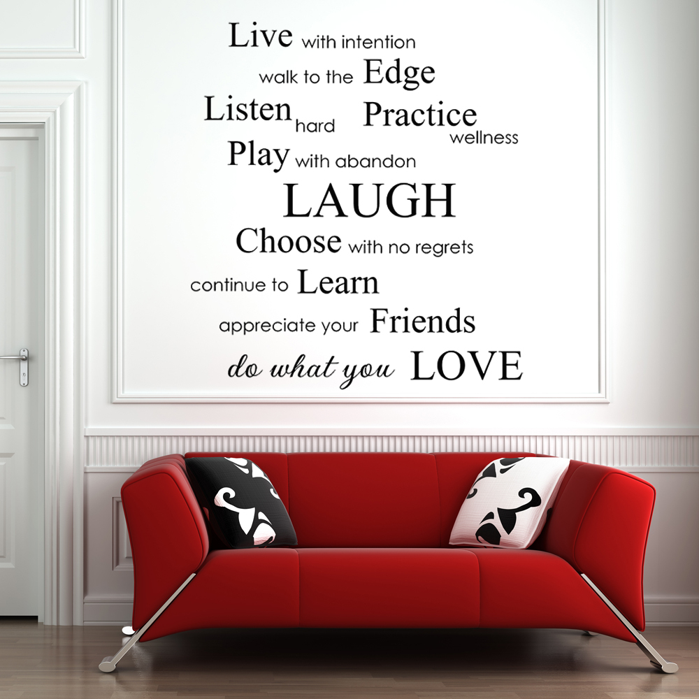 Inspirational Phrases Live With Intention Do What You Love Inspirational Phrases Vinyl