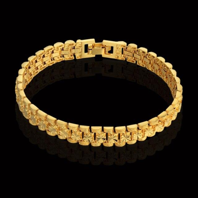 European Style Gold Bracelet Charms Chain Link Bracelet Flower Embossing Gold Color Bracelet Female New bracelets & bangles