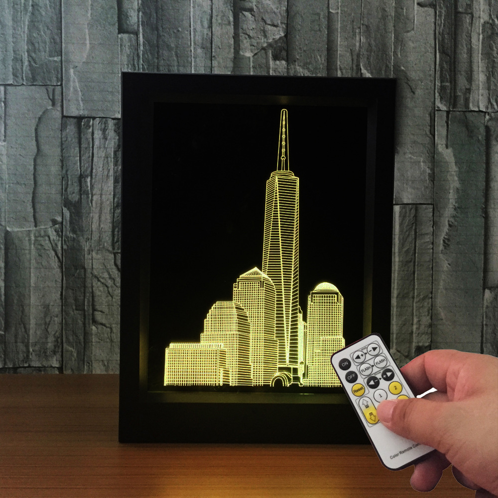 Acrylic 3D City Building Frame lamp Remote Touch Switch Bedroom Bedside Lamp 7 Color Change LED Desk lamp bedroom light As Gift acrylic 3d headset frame lampremote touch switch bedroom bedside lamp 7 color change led desk lamp bedroom light as gift