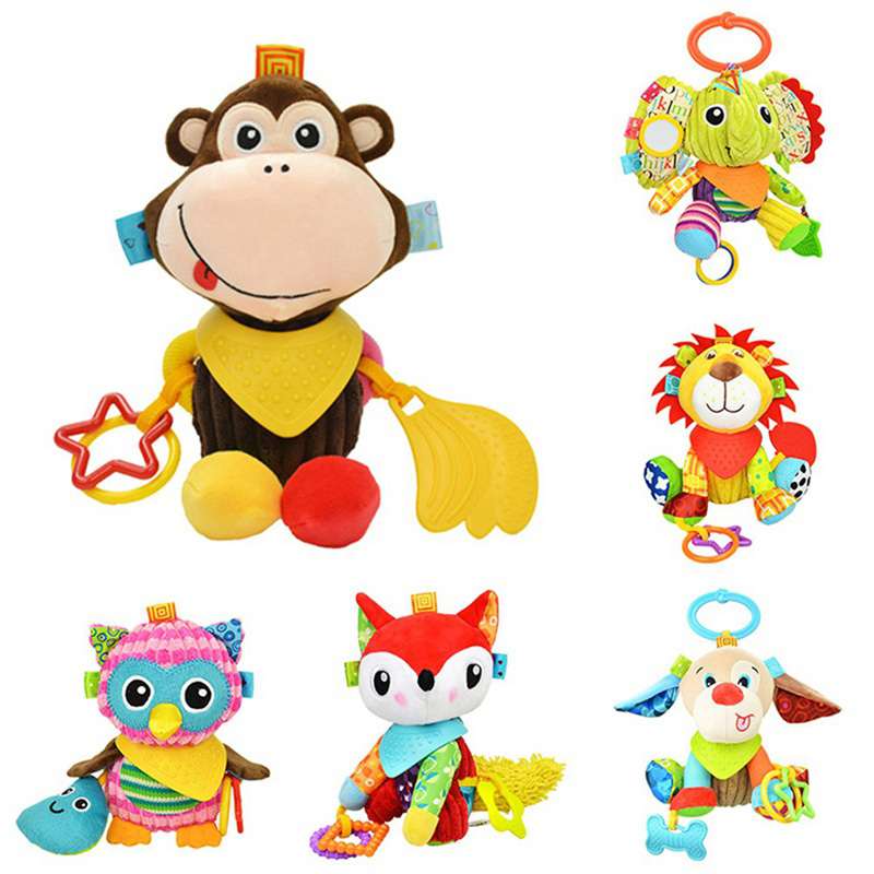 New Arrive 2019 Baby Toys Animal Style Hand Bells Plush Baby Boys Girls Toy Newbron Gift Educational Baby Rattle Toys