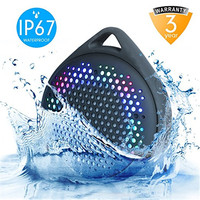 Bluetooth Speaker With Colorful Lights Changing With Sound IPX67 Waterproof Outdoor Wireless Shower Speaker With Enhanced