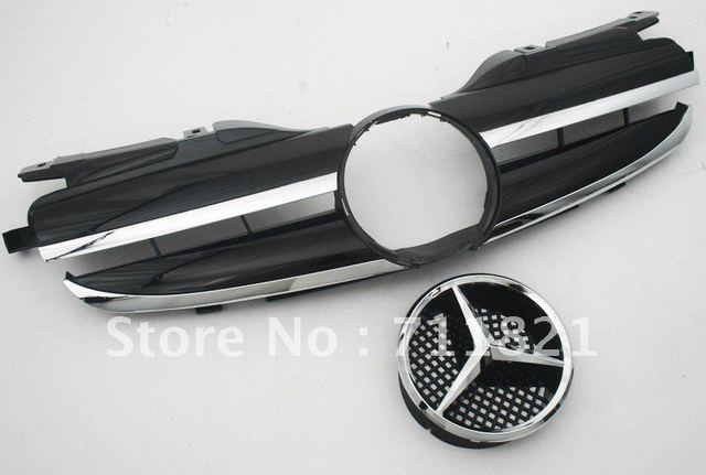 Mercedes Benz 1997-2004 SLK-Class R170 Single Fin Style Black & Chrome Front Sport Replacement Grille