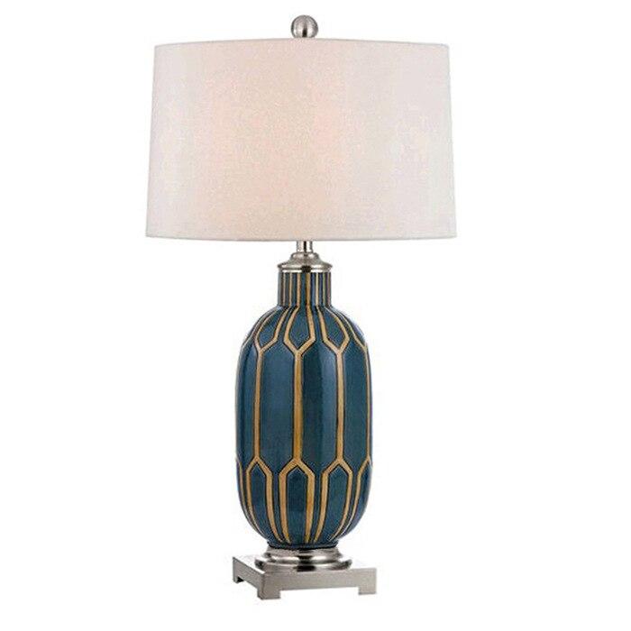 Postmoderní americký venkovský retro modrý keramický látkový led E27 stolní lampa pro obývací pokoj Ložnice Studie H 68cm Ac 80-265v 1392