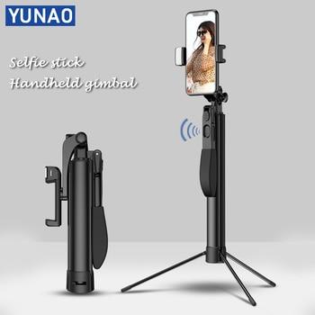 YUNAO A21 poche cardan selfie bâton support télécommande Rechargeable conception bluetooth selfie bâton trépied pour téléphone selfie