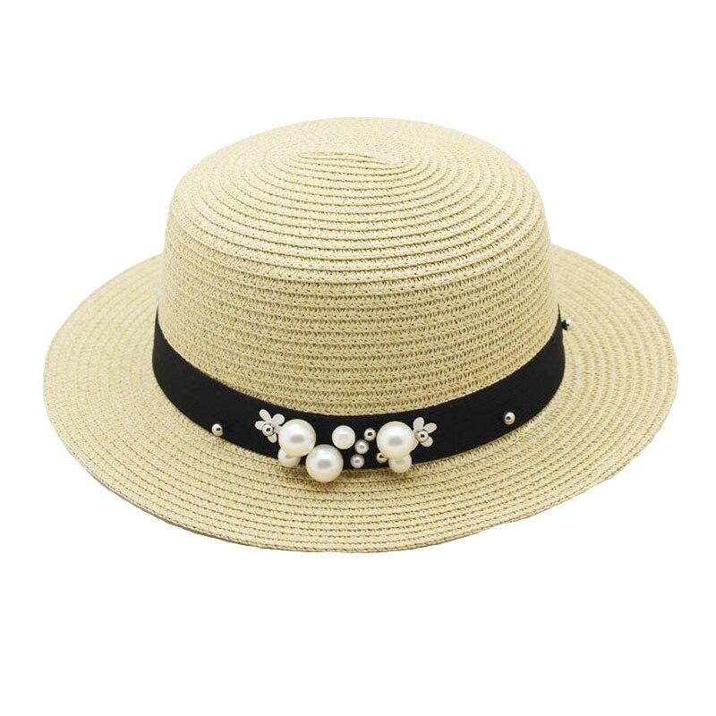 Parent child Straw Sun Hat Cute Children Sun Hats Women Pearl Straw Cap Beach Big Brim Panama Hat Casual Glris Summer Cap in Women 39 s Sun Hats from Apparel Accessories