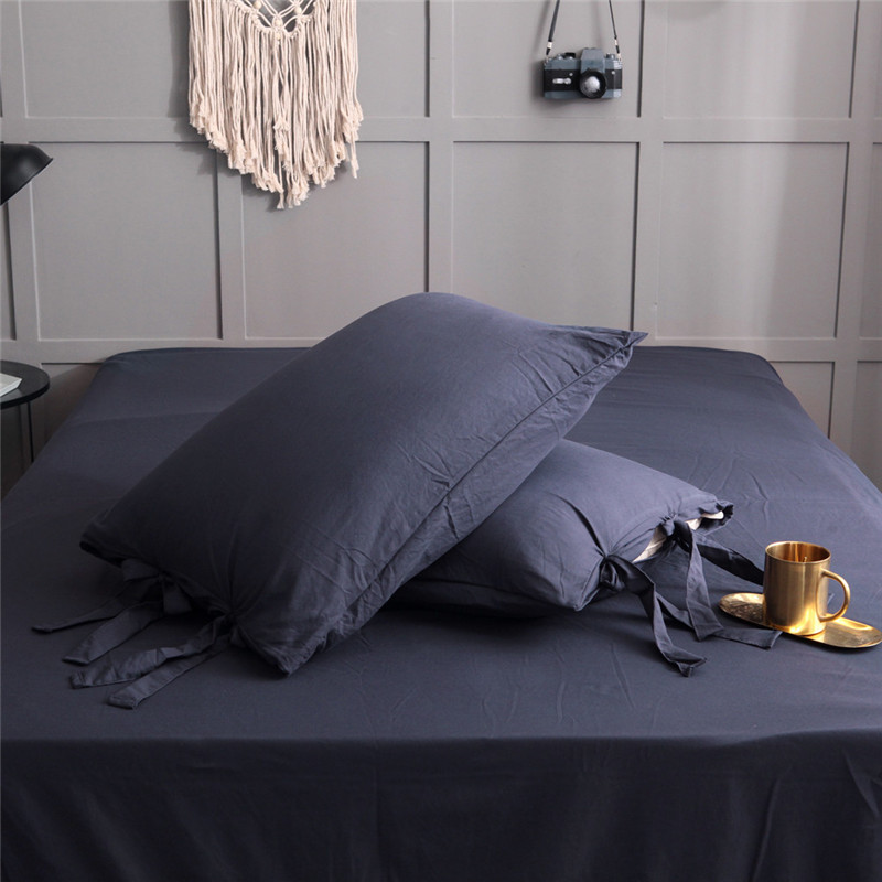 Image 2 - Solid Color Washed Cotton Duvet Cover Set 3 Piece Natural Ultra Soft Modern Style Easy Care Bedding Set Ultra Soft Simple-in Bedding Sets from Home & Garden