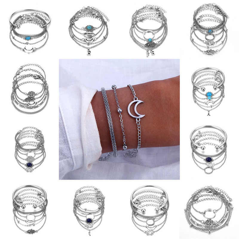 IFMIA Fashion 2019 Geometric Link Ladies Bracelet Set for Women Bijoux Silver Bracelets Moon Female Bracelet New Boho Jewelry