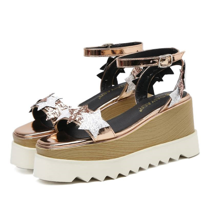 Summer Bullock Sandals Women Stars Fretwork Glitter Hollow Out Platform Shoes Peep Toe Ankle Buckle Strap Wedges Sandalias Mujer in High Heels from Shoes