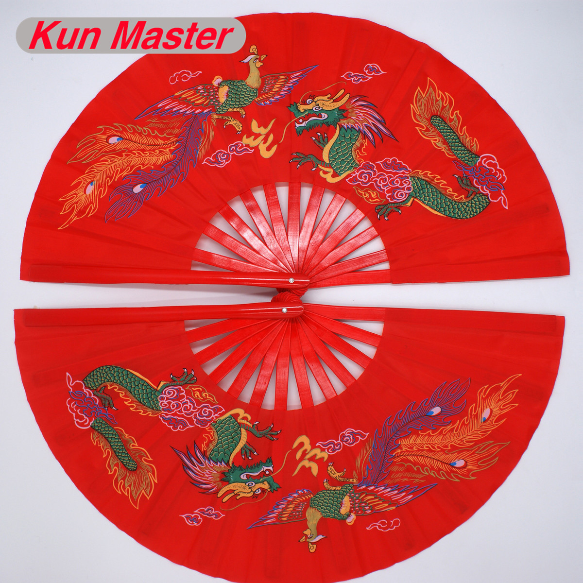Bamboo Double Left And Right Tai Chi Fan Martial Arts Fan Kung Fu Fans  China Dragon And Phoenix