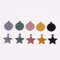 Wholesale 100PCs Letters Carved Round Star Enamel Alloy Pendant Charms DIY Jewelry Findings Ornament Accessories Metal Charm
