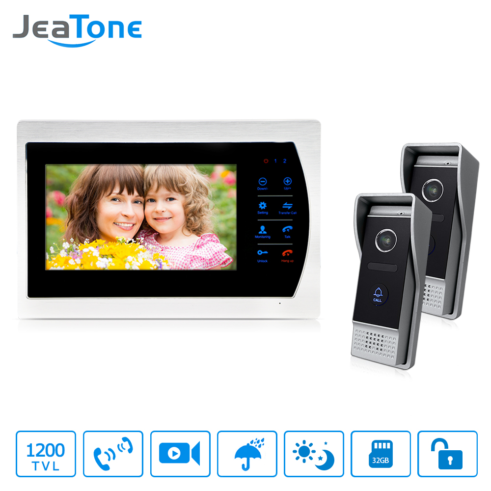 JeaTone 7 HD Touch button Video  Hands-free 1 Monitor  Intercom  with 2 camera Night Vision residential security Kit jeatone 10 hd wired video doorphone intercom kit 3 silver monitor doorbell with 2 ir night vision 2 8mm lens outdoor cameras