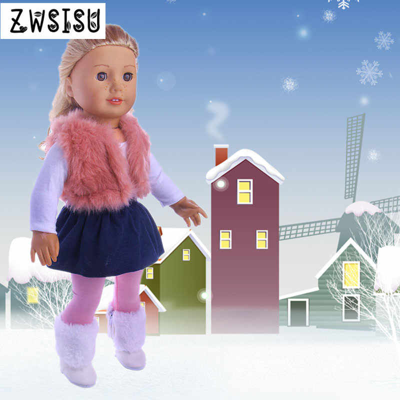 Doll Clothes 4 -Piece Coat Shirt Skirt Leggings Boots Winter For 18 Inch American Doll & 43 cm Born Doll Girl`s Toy Generation