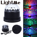 2016 High Quality EU US Plug LED Color Changes RGB Sound Actived Lamp 15W 2 in 1 Mini Rotating Magic Ball Light for Stage Party