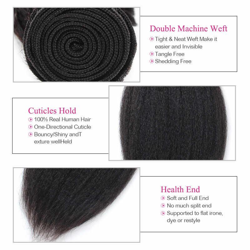 Meetu человеческие волосы 3 пучка яки прямые бразильские волосы плетение пучки натуральные шиньоны не Реми бесплатная доставка