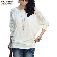 Plus Size 2016 Womens Autumn Blouse Zanzea New Long Batwing Sleeve O Neck Casual Loose Lace