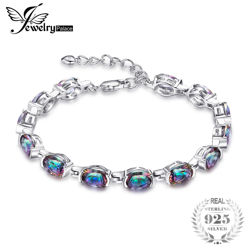 JewelryPalace 15ct Natural Mystic Rainbow Topaz Bracelet Link Tennis Women Genuine Solid 925 Sterling Silver Fine Jewelry Brand jewelrypalace 28ct natural fire rainbow mystic topaz bracelet tennis for women gift love pure 925 sterling silver fine jewelry
