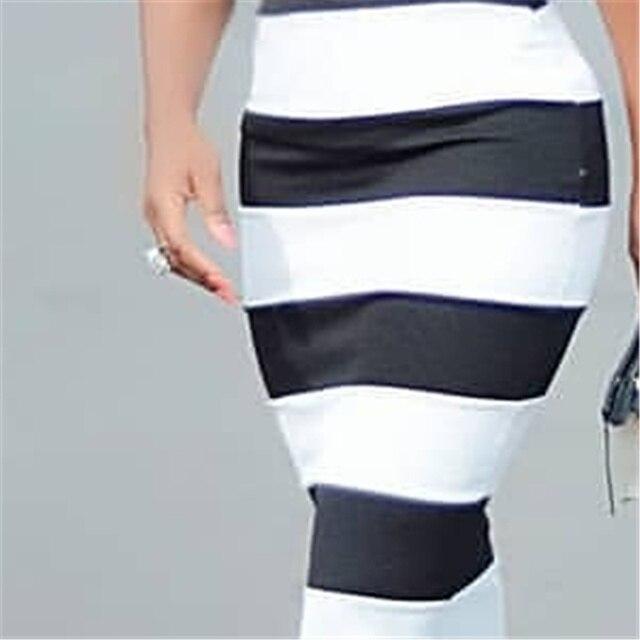 Black White Big Polka Dot Striped Dress 2