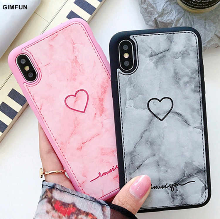 Gimfun Retro Pu Leather Love Heart Phone Case for IPhone 7 7plus 8 6s 6 Plus 214d24e115f0